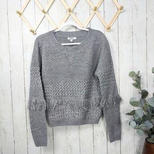 BB Dakota Fringe Heather Gray Sweater
